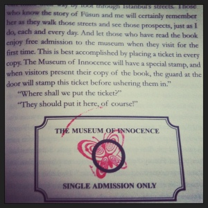 a ticket to the Museum of Innocence is printed in the book and stamped on arrival